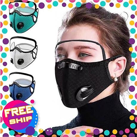 Mặt nạ thể thao gồm Khẩu trang vải Nano kháng khuẩn có 2 van thở kèm kính bảo hộ che mặt tháo lắp đa năng 1