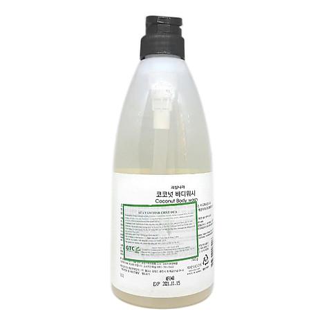Sữa tắm tinh chất dừa Welcos Coconut Body Cleanser Hàn Quốc 740g + Móc khóa 3