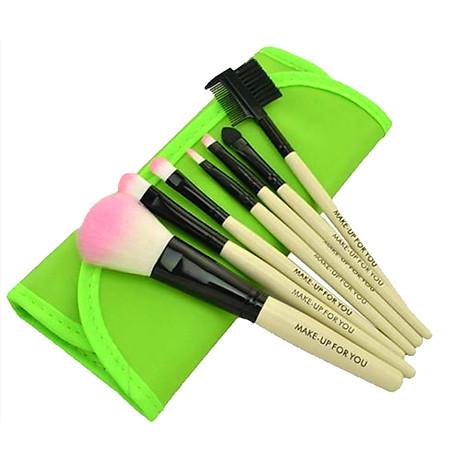 Bộ cọ trang điểm 7 món Wooden Makeup Kit (Xanh lá) 2