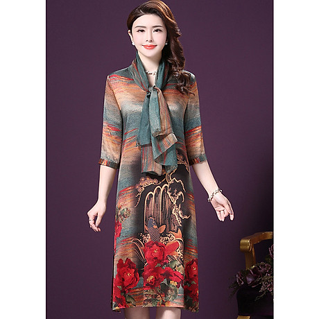 Đầm Suông BigSize Cổ Trụ In Họa Tiết Hoa Và Cá Kiểu Đầm Suông Trung Niên Dự Tiệc Size Lớn ROMI 1521D 1