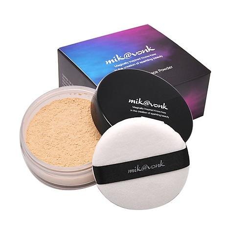 Phấn phủ bột kiềm dầu Mik vonk Blooming Face Powder Hàn Quốc 30g NB19 Natural Beige tặng kèm móc khoá 3