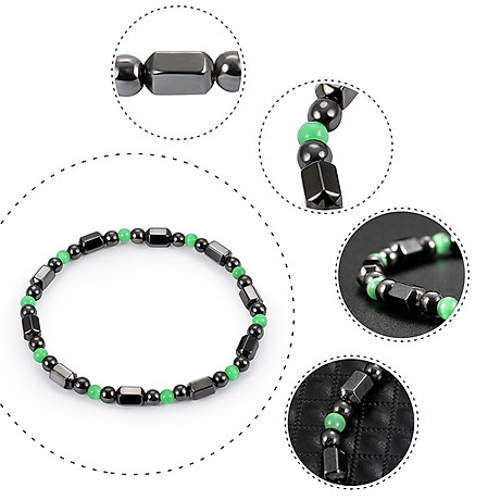 1 PCS Weight Loss Healthcare Round Black Stone Magnetic Therapy Hand Chain Body Care Hematite Stretch Bracelet Magnet 5