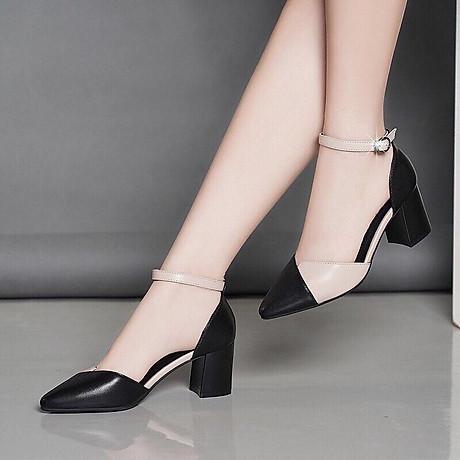 Giày cao gót đúp mũi phối 2 màu 1