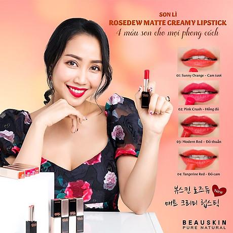 Son lì nhẹ môi Beauskin Rosedew Matte Creamy Hàn Quốc No.03 Đỏ thuần tặng kèm móc khóa 3