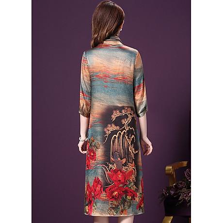 Đầm Suông BigSize Cổ Trụ In Họa Tiết Hoa Và Cá Kiểu Đầm Suông Trung Niên Dự Tiệc Size Lớn ROMI 1521D 8