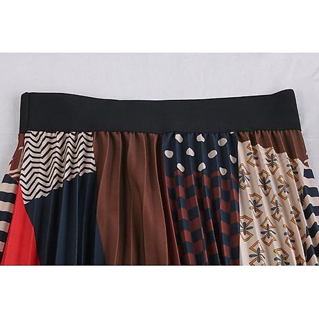 Chân váy xếp ly Vintage dáng dài chất không nhăn VAY35 phối nhiều màu (Free size) 2