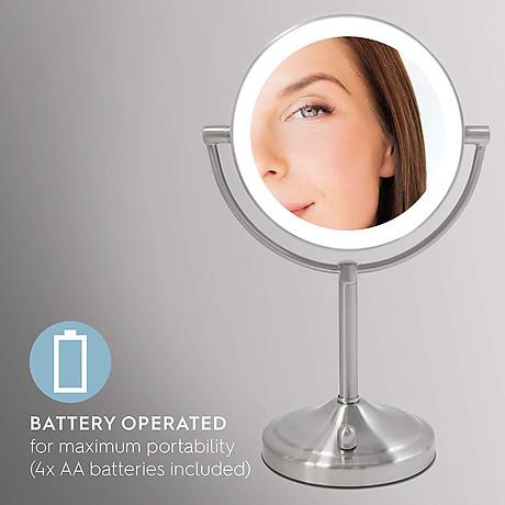 Gương trang điểm 2 mặt USA kèm đèn led điều chỉnh độ sáng HoMedics MIR-8150-EU ,đường kính lớn ,chất liệu Niken cao cấp nhập khẩu USA 5