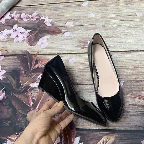 Giày nữ bít mũi đế xuồng cao 5cm kiểu trơn da bóng mềm nhẹ C14n có ảnh thật 4