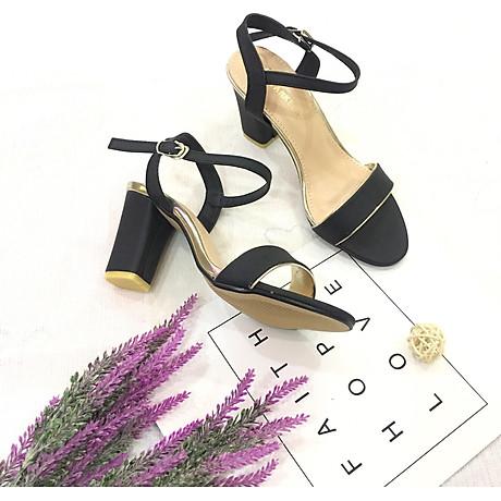 Sandal nữ quai ngang viền nhũ đế 7cm hàng VNXK cao cấp S71 2