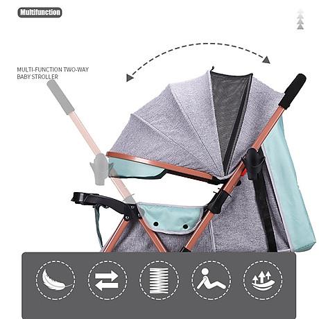 Xe đẩy trẻ em 2 chiều 3 tư thế gấp gọn khi đi du lịch, khung chắc chắn có mái che 4