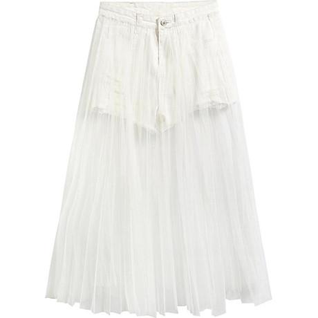 Chân váy maxi jean quần phối ren trắng - CV022 1