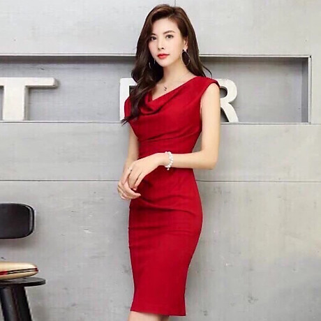 Đầm ôm đỏ cổ đổ ( dưới 60kg ) MAI017 2
