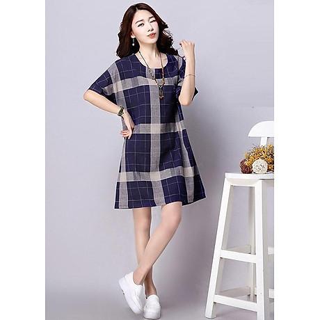 Đầm suông kẻ ô vuông tay cánh rơi form rộng LAHstore, chất vải thô mềm mát, thích hợp mùa hè, thời trang phong cách Hàn Quốc 3