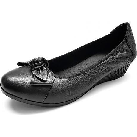 Giày Đế Xuồng Da Bò Mềm Mại Đế Cao 3cm Evelynv 3P03DTP (Đen) 1