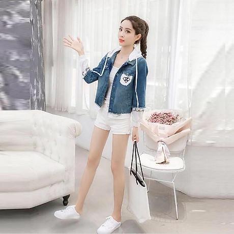 Áo Khoác Jeans Nữ Xanh Phối Trắng 1