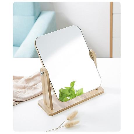 Gương soi trang điểm để bàn cao cấp xoay được 360 độ tiện dụng chất liệu gỗ ép chắc chắn kích thước 17 x 22 cm - Gương gỗ để bàn Trang Điểm 8