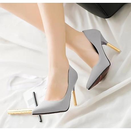 Giày cao gót trơn màu mũi nhọn quý phái 5