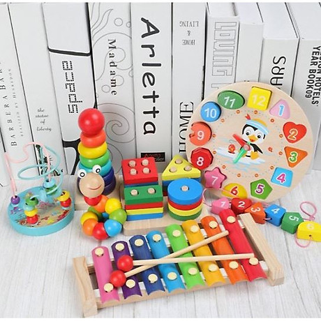 Combo 6 món đồ chơi gỗ an toàn cho bé- phát triển trí tuệ (Đàn gỗ, sâu gỗ, luồn hạt, thả hình 4 trụ, đồng hồ sâu hạt, tháp gỗ) 1