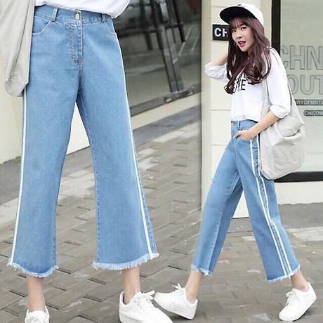 Quần Jeans Nữ Ống Rộng Phối Sọc 235 4