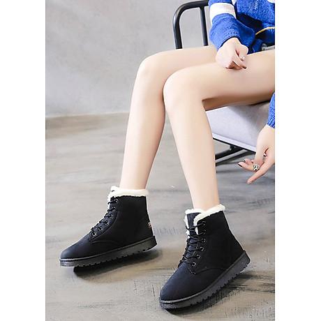 Giầy bốt nữ cổ ngắn, chất liệu da lộn lót lông ấm áp, thời trang trẻ, phong cách Hàn Quốc (Đen) 2