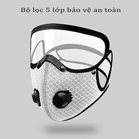Mặt nạ thể thao gồm Khẩu trang vải Nano kháng khuẩn có 2 van thở kèm kính bảo hộ che mặt tháo lắp đa năng 4