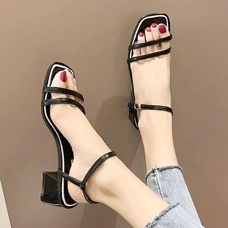 Giày xăng đan nữ quai kép trước gót vuông 5cm quai hậu móc da PU mềm C02 4
