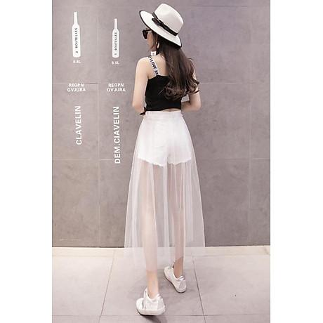 Chân váy maxi jean quần phối ren trắng - CV022 5