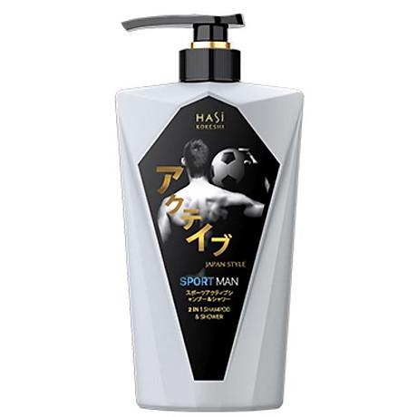 Dầu tắm gội nam 2in1 Hasi Kokeshi sảng khoái và cá tính - Sport Active Shampoo & Shower 1