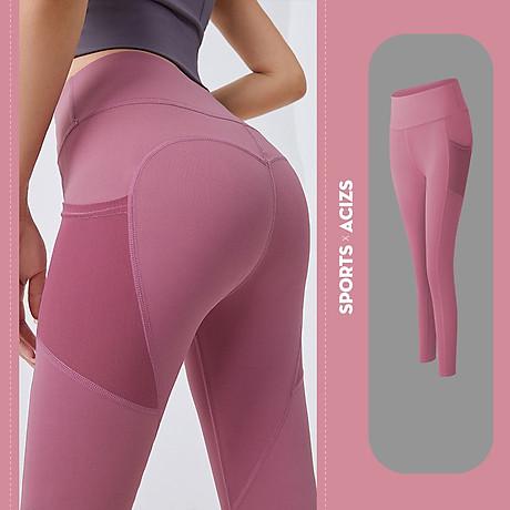 Quần thể thao nữ quần legging co giãn nhanh khô, túi hai bên phối lưới, quần yoga chạy bộ mã MTCK9016 1