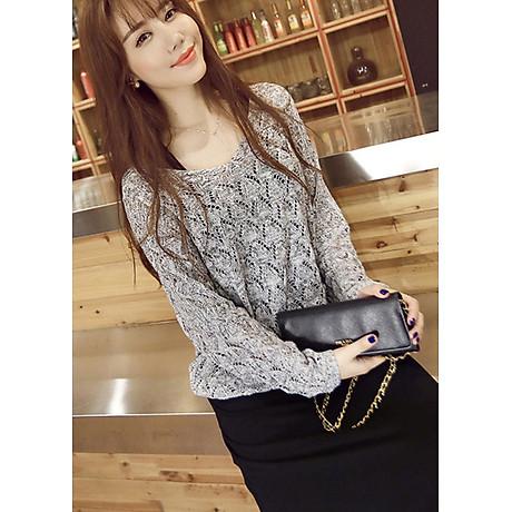 Áo len mỏng nữ dài tay dệt quả trám ALen03 (Xám) 1