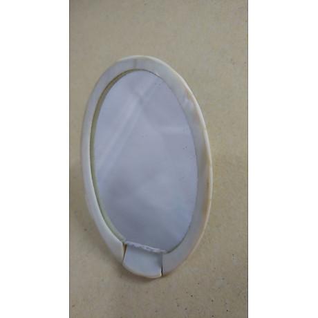 Gương trang điểm cầm tay xà cừ trắng 2