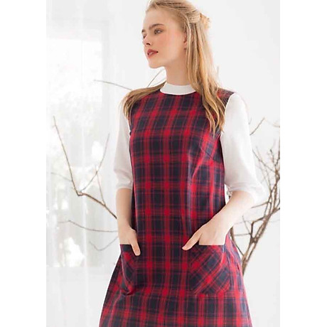 Đầm Caro - Đỏ (Free Size) 2