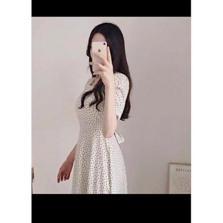 Đầm bi trắng cột nơ V2 4