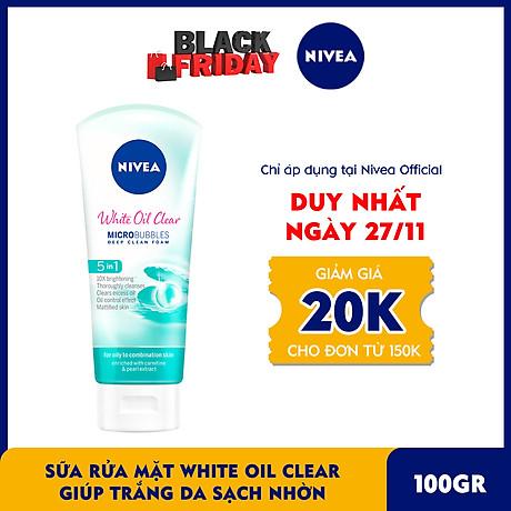 Sữa rửa mặt NIVEA White Oil Clear giúp trắng da sạch nhờn (100g) - 84951 1
