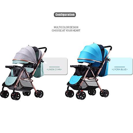 Xe đẩy trẻ em 2 chiều 3 tư thế gấp gọn khi đi du lịch, khung chắc chắn có mái che 5