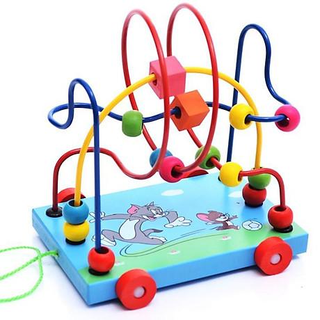 Đồ chơi xe gỗ, game xâu chuỗi luồn hạt gỗ, đồ chơi gỗ xâu chuỗi hạt rèn kỹ năng khéo léo cho bé giúp trẻ kích thích giác quan một cách toàn diện Tặng Kèm Móc Khóa 4Tech. 4