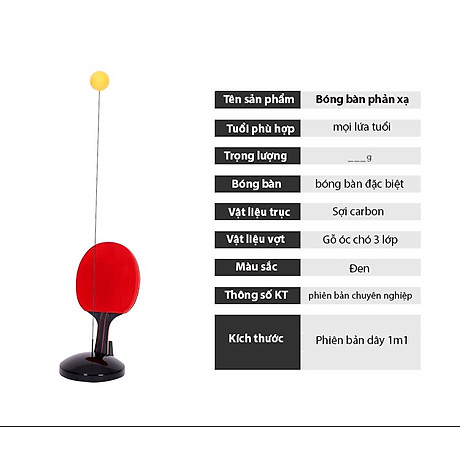 Bóng bàn phản xạ lắc lư cao cấp, không lo văng bóng hay lật đế - tặng kèm 1 dây đàn hồi carbon 69cm 8