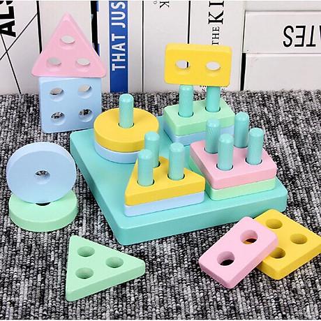 Combo 7 món đồ chơi cho bé phát triển trí tuệ (Đàn gỗ, tháp gỗ, luồn hạt, sâu gỗ, đồng hồ gỗ, thả hình 4 trụ, lục lạc tròn ) 7