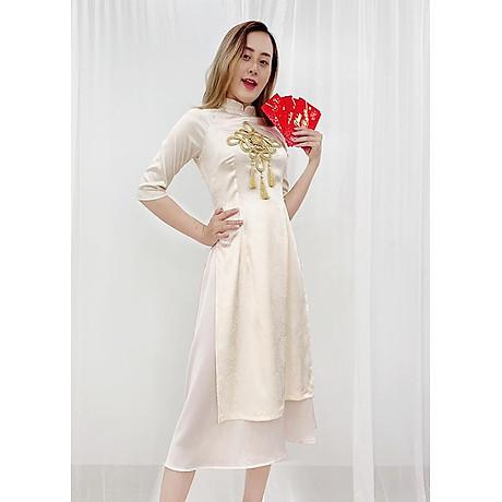 Set Áo Dài Cách Tân Gấm Nữ Đính Họa Tiết Nổi Phối Phụ Kiện Đẹp Kèm Chân Váy ROMI 3170 1