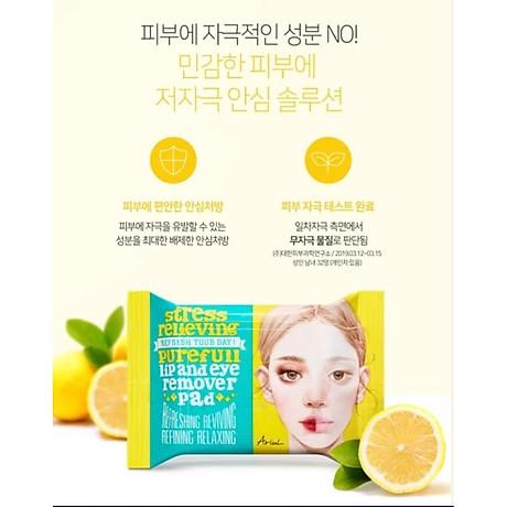 Khăn Giấy Tẩy Trang Mắt Môi Ariul Stress Relieving Purefull Lip & Eye Remover Pad (30 Miếng) 3