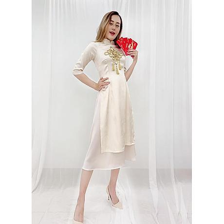 Set Áo Dài Cách Tân Gấm Nữ Đính Họa Tiết Nổi Phối Phụ Kiện Đẹp Kèm Chân Váy ROMI 3170 4