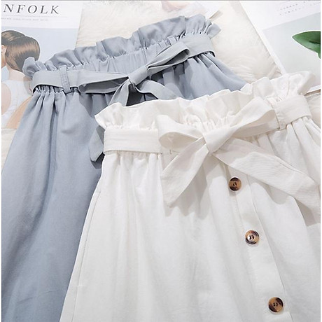 Chân váy nữ thời trang chữ A đính cúc kèm dây đai thắt nơ vải kaki cao cấp free size VAY05 2