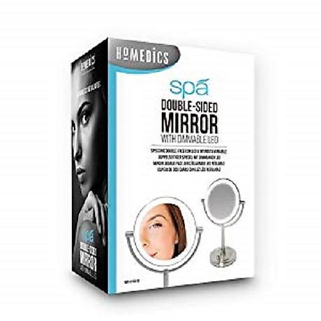 Gương trang điểm 2 mặt USA kèm đèn led điều chỉnh độ sáng HoMedics MIR-8150-EU ,đường kính lớn ,chất liệu Niken cao cấp nhập khẩu USA 8