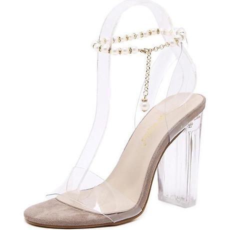 Giày Cao Gót Nữ Gót Vuông Trong Suốt 7cm 1