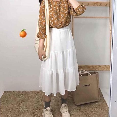 Chân váy xòe 2 tầng cạp chun dáng dài vải voan 2 lớp freesize xinh xắn thoải mái 1