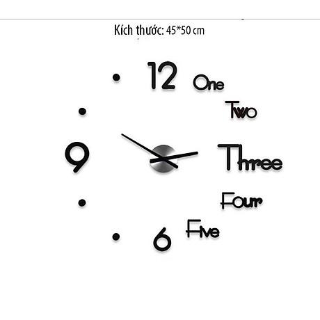 Đồng hồ dán tường kết hợp chữ và số đẹp mắt 3D 4