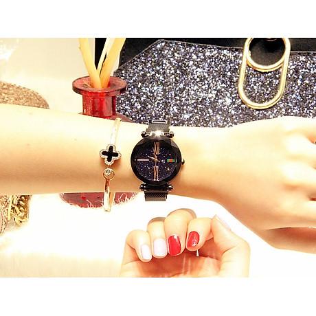 Đồng hồ nữ dây kim loại lưới khóa nam châm mặt tròn đen cá tính ĐHĐ6003 2