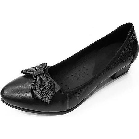 Giày Cao Gót Nữ Đế Vuông Cao 3cm Da Thật Siêu Mềm Evelynv 3P05DTP (Đen) 1