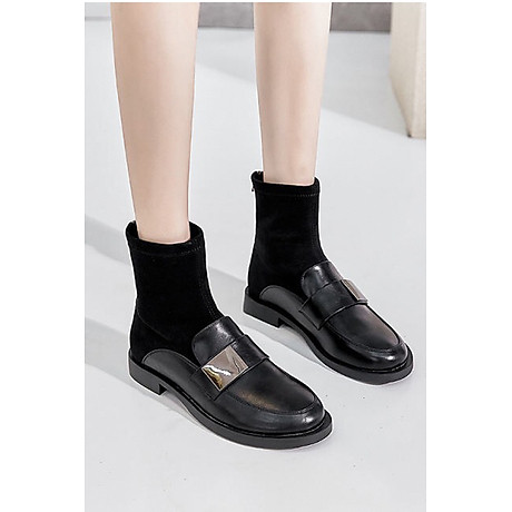 Giày Boot Nữ Da Phối Da Lộn 3
