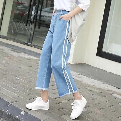 Quần Jeans Nữ Ống Rộng Phối Sọc 235 3